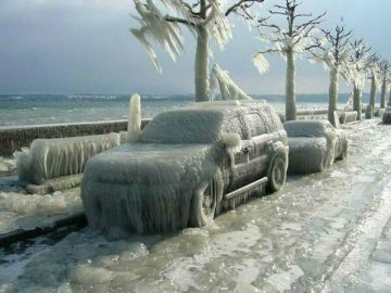 Frozen Cars in Polar Vortex